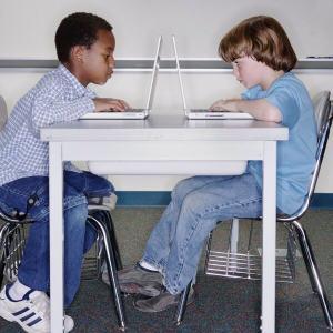 Two students receiving individualized education